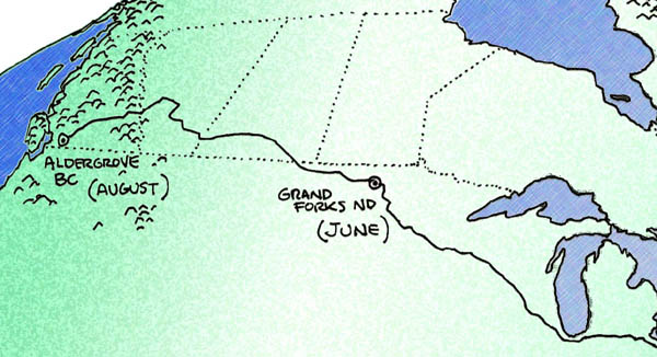 map of 2013 travels west