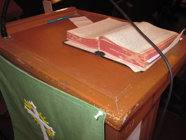 Old Cree Bible at St. Matthew's Church, Kingfisher Lake, ON