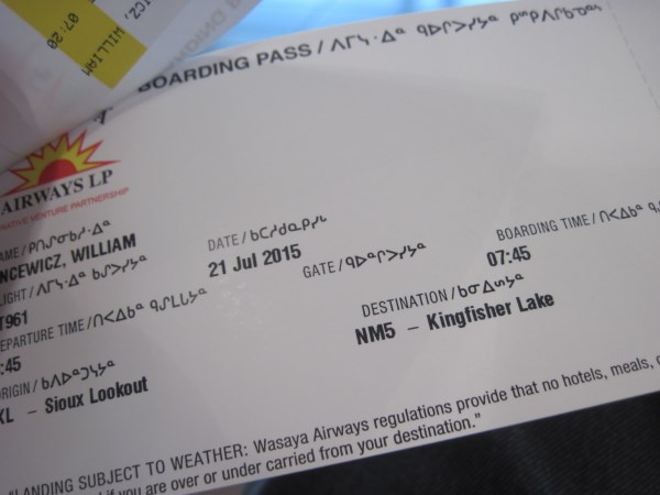 Boarding Pass in Canadian Syllabics