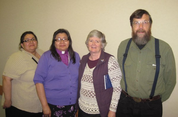 Cheyenne Vachon, Bishop Lydia Mamakwa, Bill and Norma Jean at the Prince Albert Gathering