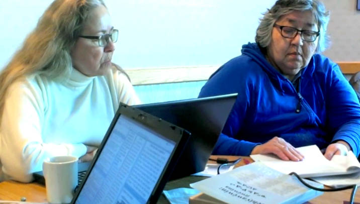 Dolores and Gayle working on Plains Cree checking and review
